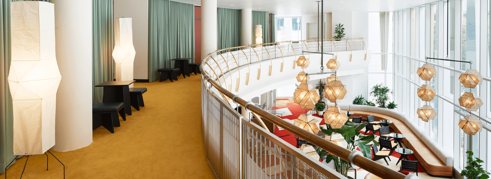 View of the lobby from the balcony.