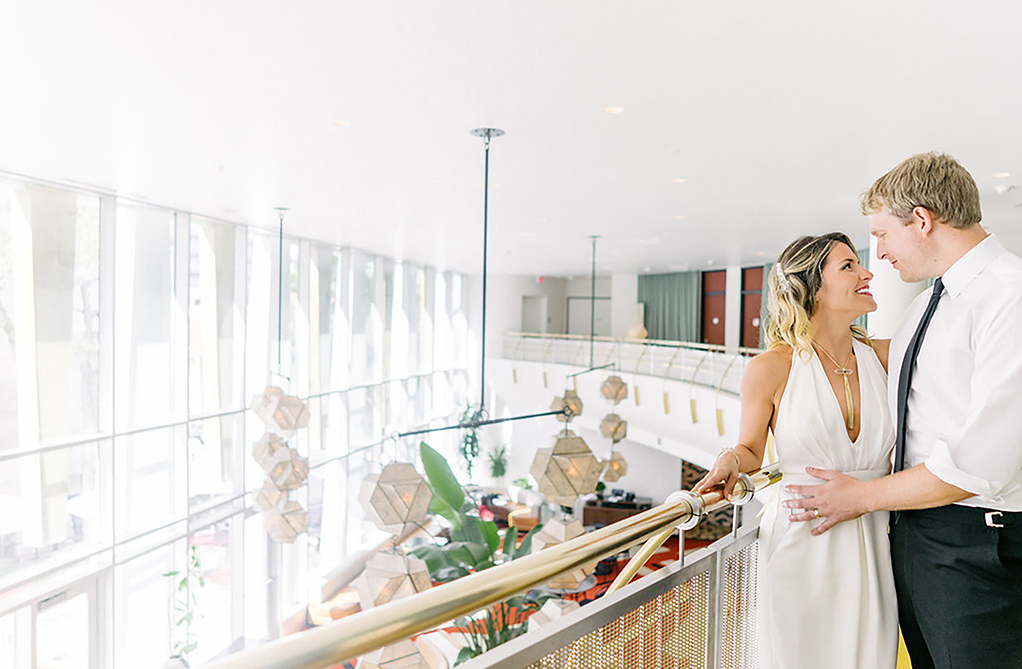 Wedding couple overlooking Mezzanine