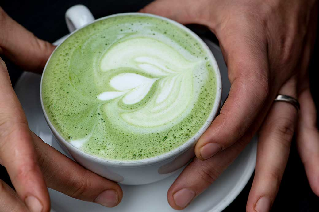Matcha Latte at the Durham Hotel Coffee Shop