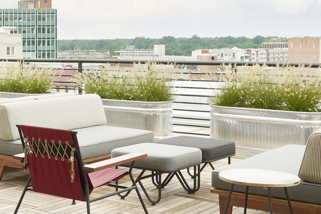 The Durham Rooftop seating with city views